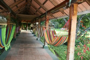 Patio with hammocks in beautiful garden, Antigua Guatemala