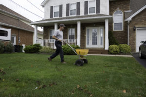 Man spreads fertilzer on a lawn20101002009See more in my Landscapers lightbox: